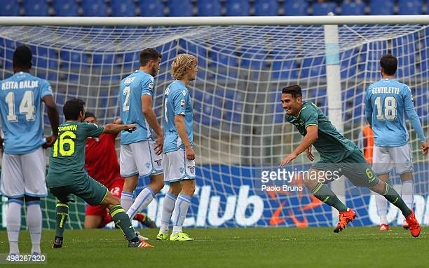 Edoardo Goldaniga of US Citta di Palermo celebrates after scoring the opening goal during the Serie A match between SS Lazio and US Citta di Palermo...