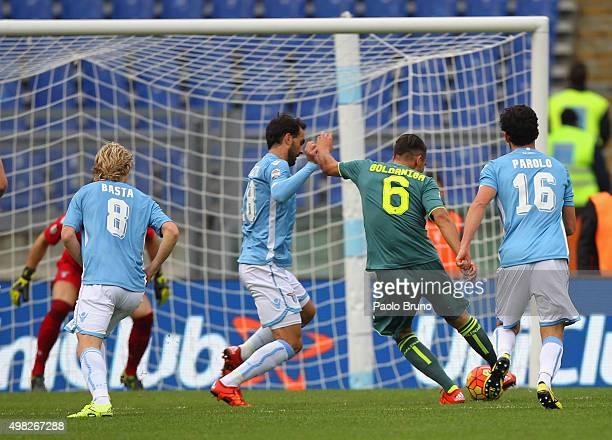Edoardo Goldaniga of US Citta di Palermo scores the opening goal during the Serie A match between SS Lazio and US Citta di Palermo at Stadio Olimpico...