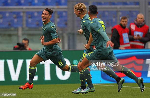 Edoardo Goldaniga with his teammates of US Citta di Palermo celebrates after scoring the opening goal during the Serie A match between SS Lazio and...