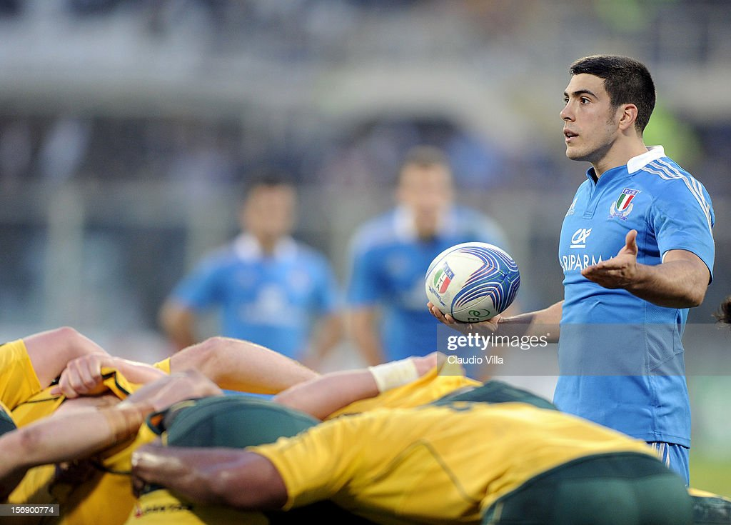 Edoardo Gori of Italy during the international rugby test match between Italy and Australia at Artemio Franchi on November 24, 2012 in Florence, Italy.