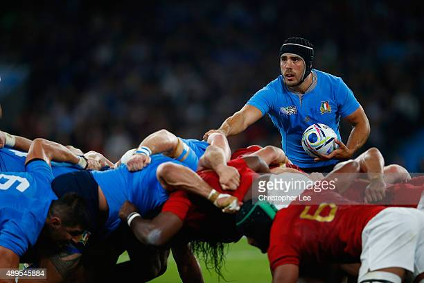 Edoardo Gori of Italy in action during the 2015 Rugby World Cup Pool D match between France and Italy at Twickenham Stadium on September 19 2015 in...