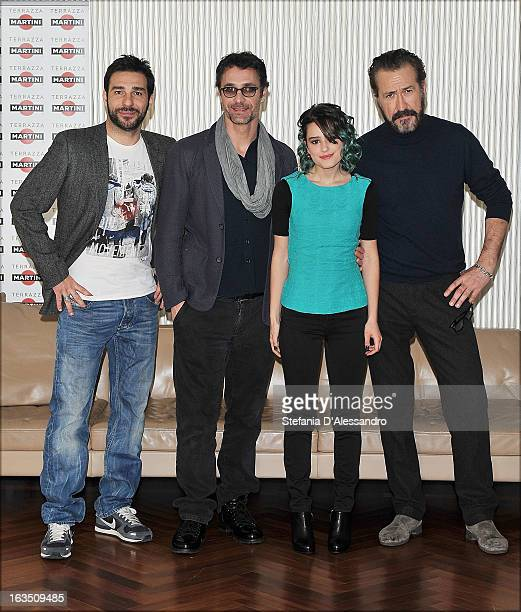 Edoardo Leo Raoul Bova Rosabell Laurenti Sellers and Marco Giallini attend 'Buongiorno Papa' Milan Photocall on March 11 2013 in Milan Italy