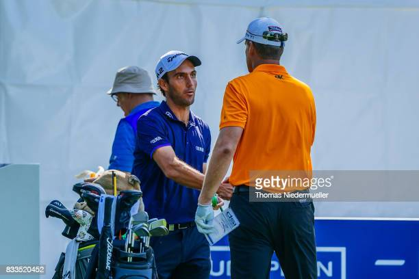 Edoardo Molinari of Italy and Robert Karlsson of Sweden are seen at day one of the Saltire Energy Paul Lawrie Matchplay at Golf Resort Bad Griesbach...