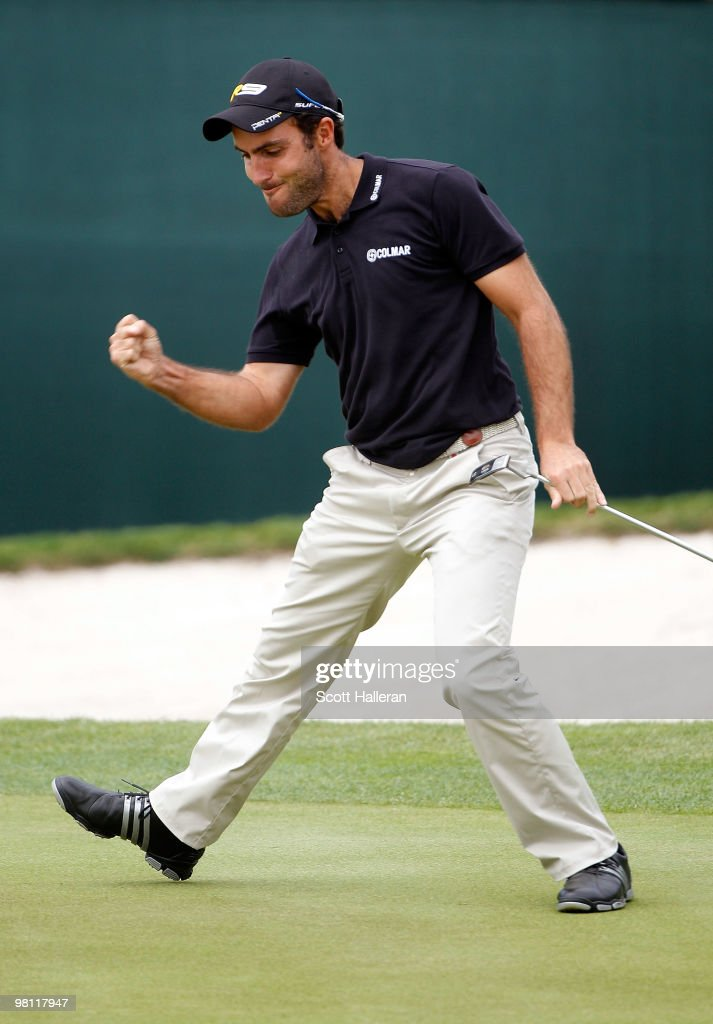 Edoardo Molinari of Italy celebrates a birdie putt on the 17th green during the completion of the final round of the Arnold Palmer Invitational presented by MasterCard at the Bayhill Club and Lodge on March 29, 2010 in Orlando, Florida.