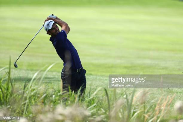 Edoardo Molinari of Italy hits from the rough on the 3rd hole during round one of the Saltire Energy Paul Lawrie Matchplay at Golf Resort Bad...