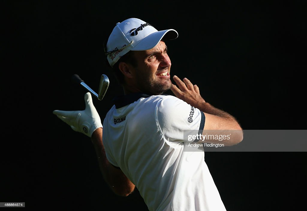 Edoardo Molinari of Italy lets go of his club as he hits his second shot on the 13th hole during the second round of the 72nd Open d'Italia at Golf Club Milano on September 18, 2015 in Monza, Italy.