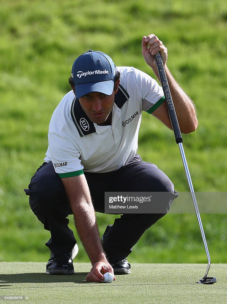 <a gi-track='captionPersonalityLinkClicked' href=/galleries/search?phrase=Edoardo+Molinari&family=editorial&specificpeople=556368 ng-click='$event.stopPropagation()'>Edoardo Molinari</a> of Italy lines up a putt during day one of the 100th Open de France at Le Golf National on June 30, 2016 in Paris, France.