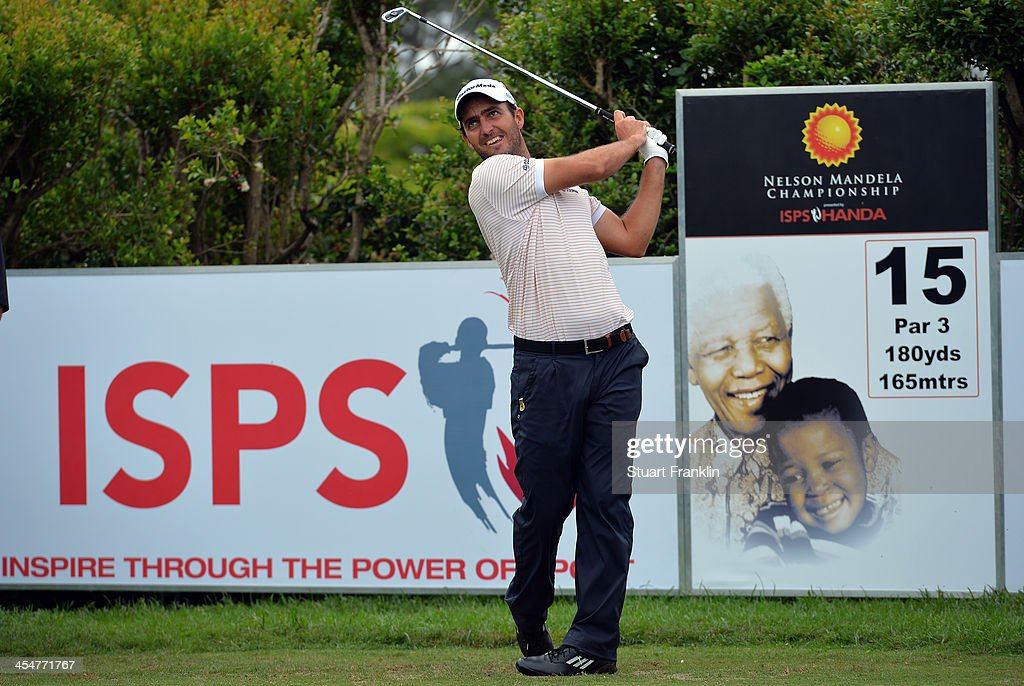 <a gi-track='captionPersonalityLinkClicked' href=/galleries/search?phrase=Edoardo+Molinari&family=editorial&specificpeople=556368 ng-click='$event.stopPropagation()'>Edoardo Molinari</a> of Italy plays a shot during the pro-am prior to the start of the Nelson Mandela Championship presented by ISPS Handa at Mount Edgecombe Country Club on December 10, 2013 in Durban, South Africa.
