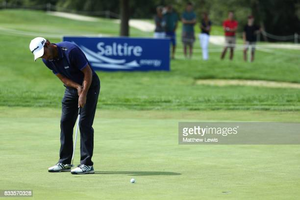 Edoardo Molinari of Italy putts on the 3rd green during round one of the Saltire Energy Paul Lawrie Matchplay at Golf Resort Bad Griesbach on August...