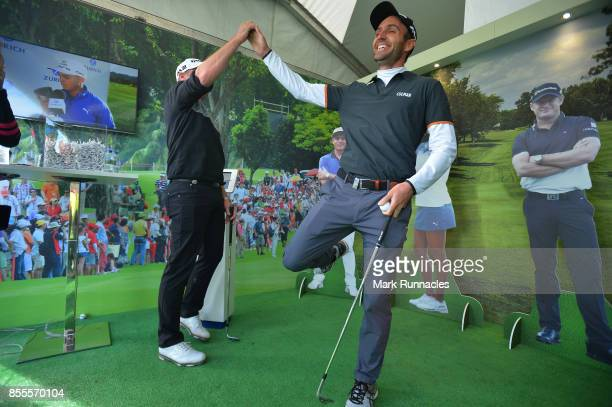 Edoardo Molinari of Italy reacts as he beats Matteo Manassero of Italy and Jamie Donaldson of Wales in the Keepy Uppys Challenge at the Zurich...
