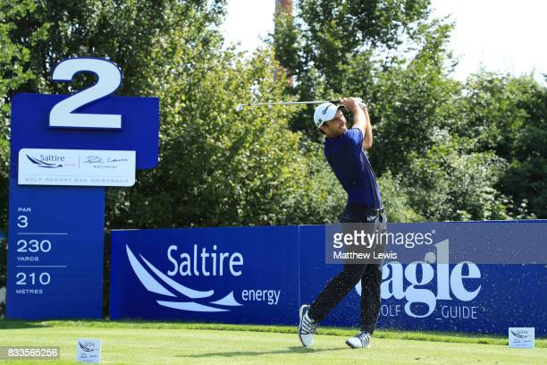 Edoardo Molinari of Italy tees off on the 2nd hole during round one of the Saltire Energy Paul Lawrie Matchplay at Golf Resort Bad Griesbach on...