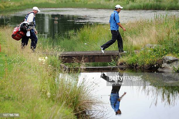 Edoardo Molinari of Italy walks over a bridge during round three of The Barclays Scottish Open at Loch Lomond Golf Club on July 10 2010 in Luss...