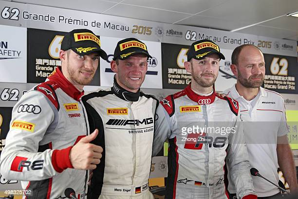 Edoardo Mortara of Italy Maro Engel of Germany and Rene Rast of Germany during the press conference during the SJM Macau GT CupFIA GT World Cup event...