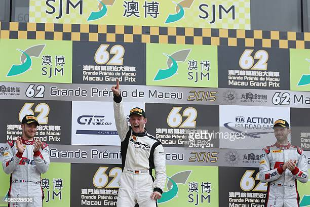 Edoardo Mortara of Italy Maro Engel of Germany and Rene Rast of Germany during the podium during the SJM Macau GT CupFIA GT World Cup event as part...