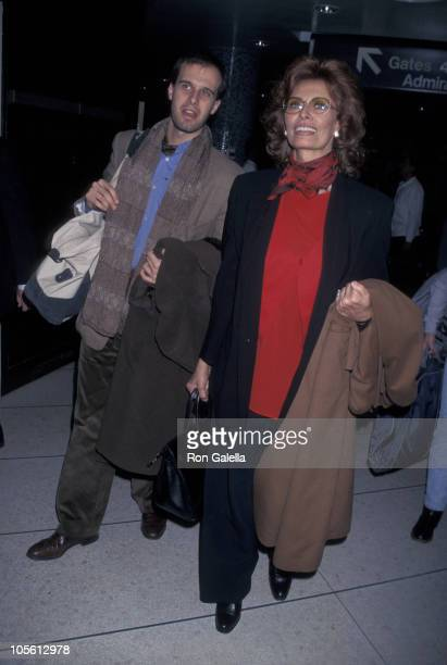 Edoardo Ponti and Sophia Loren during Sophia Loren Sighting Leaving LAX for New York March 2 1998 at Los Angeles International Airport in Los Angeles...
