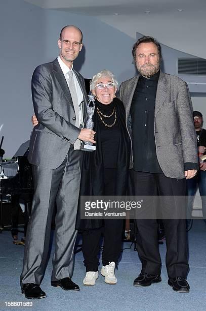 Edoardo Ponti Lina Wertmuller and Franco Nero attend Day 4 of the 2012 Capri Hollywood Film Festival on December 29 2012 in Capri Italy