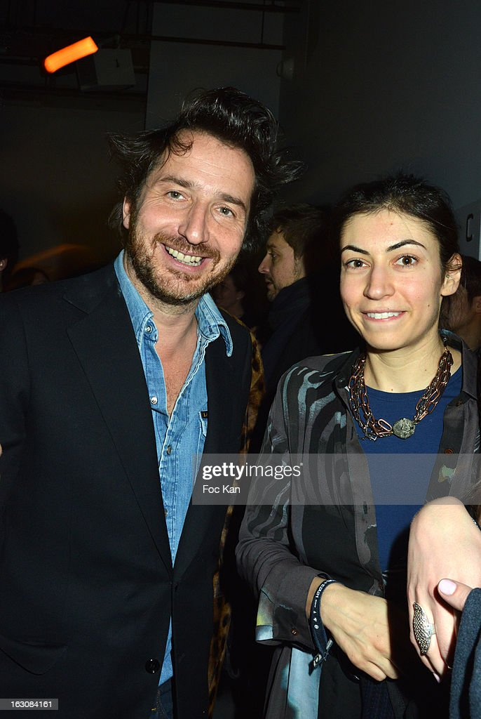 Edouard Baer and a guest attend the Diesel and Edun Party - PFW F/W 2013 at La Gaite Lyrique on March 3rd, 2013 in Paris, France.