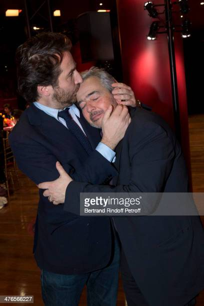 Edouard Baer and artist Herve Di Rosa attend the Martine Aublet Foundation Award Night at the Musee Du Quai Branly on March 3 2014 in Paris France