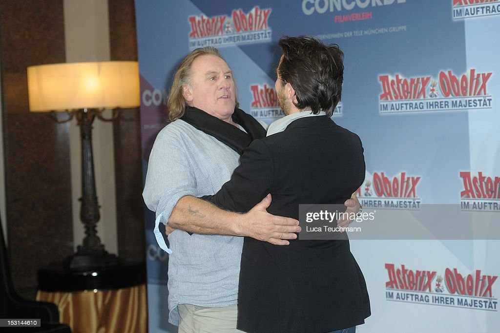 Edouard Baer and Gerard Depardieu attend the 'Asterix & Obelix - God Save Britannia' Photocall at Hote de Rome on October 1, 2012 in Berlin, Germany.