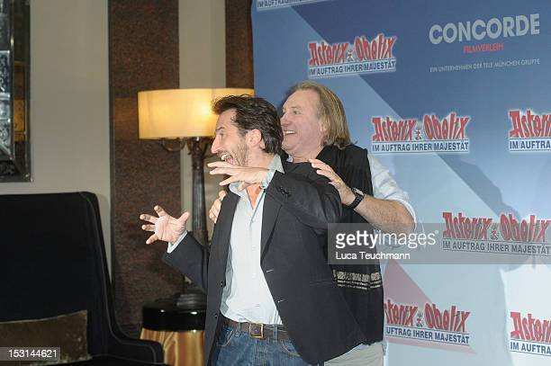 Edouard Baer and Gerard Depardieu attend the 'Asterix Obelix God Save Britannia' Photocall at Hote de Rome on October 1 2012 in Berlin Germany