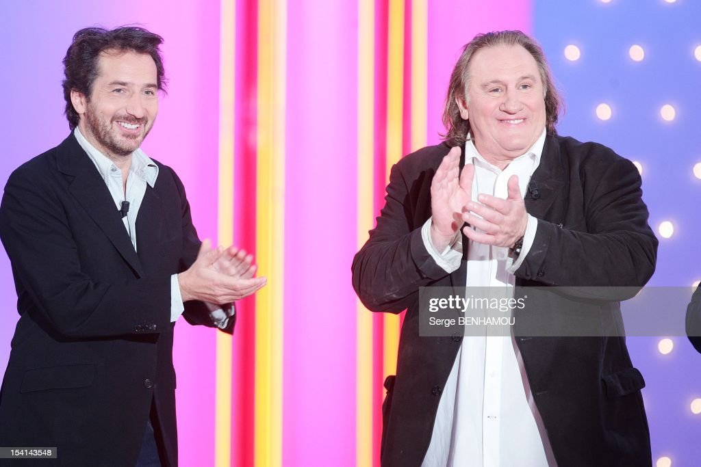 Edouard Baer and Gerard Depardieu attend Vivement Dimanche Tv show on October 3, 2012 in Paris, France.