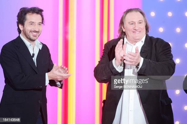 Edouard Baer and Gerard Depardieu attend Vivement Dimanche Tv show on October 3 2012 in Paris France