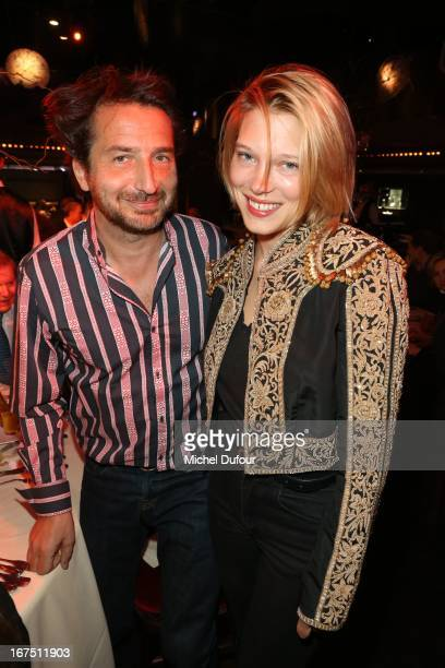 Edouard Baer and Lea Seydoux attend the 'Les P'tits Cracks' charity dinner at Pavillon ChampsElysees on April 25 2013 in Paris France