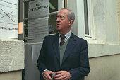 Edouard Balladur leaving the voting office
