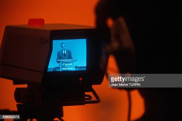 Edouard Balladur on television screen during his campaign for presidency in France on February 23 1995