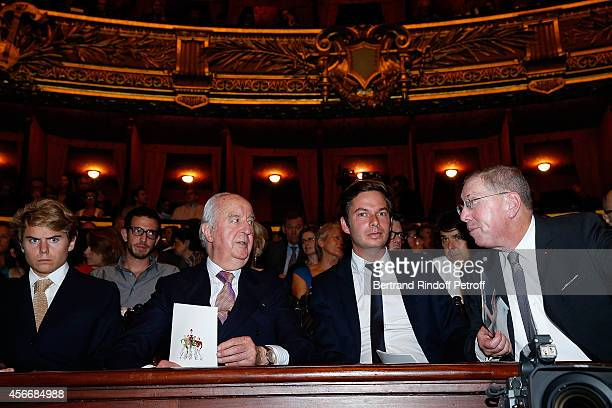 Edouard Balladur with his Grand Son guest and President of Opera de Paris Bernard Stirn attend for the tribute to Brigitte Lefevre on October 4 2014...