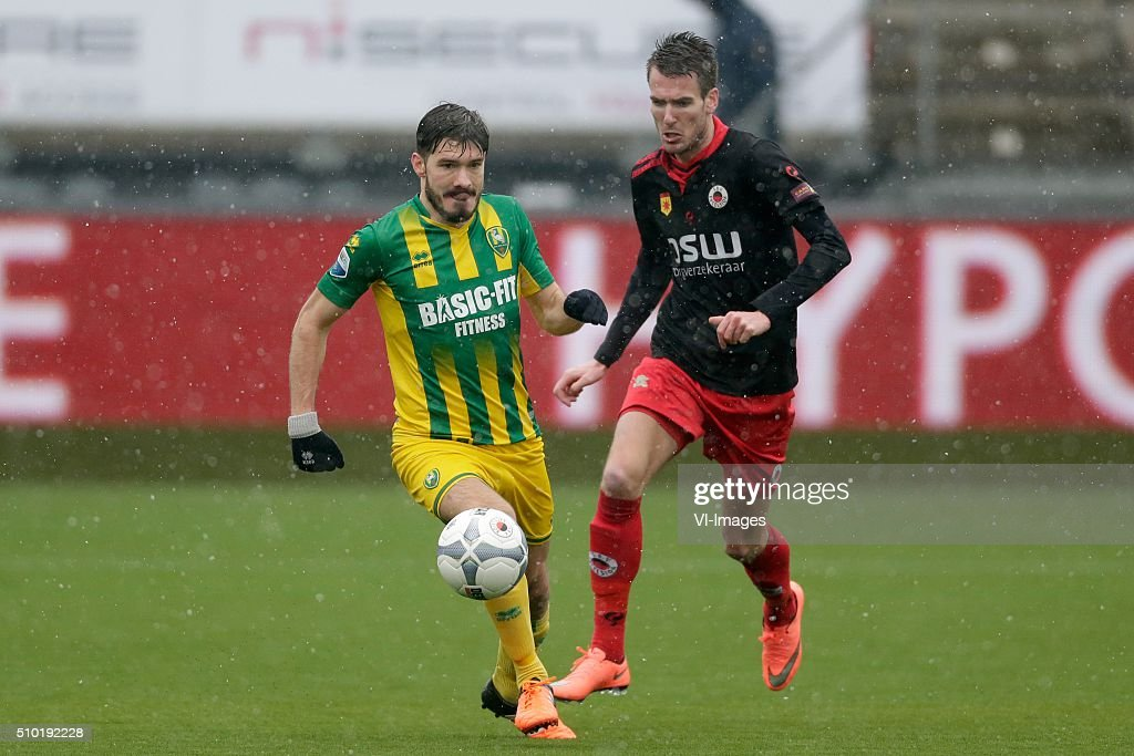 Edouard Duplan of ADO Den Haag, Kevin Vermeulen of Excelsior Rotterdam during the Dutch Eredivisie match between Excelsior Rotterdam and ADO Den Haag at Woudenstein stadium on February 14, 2016 in Rotterdam, The Netherlands