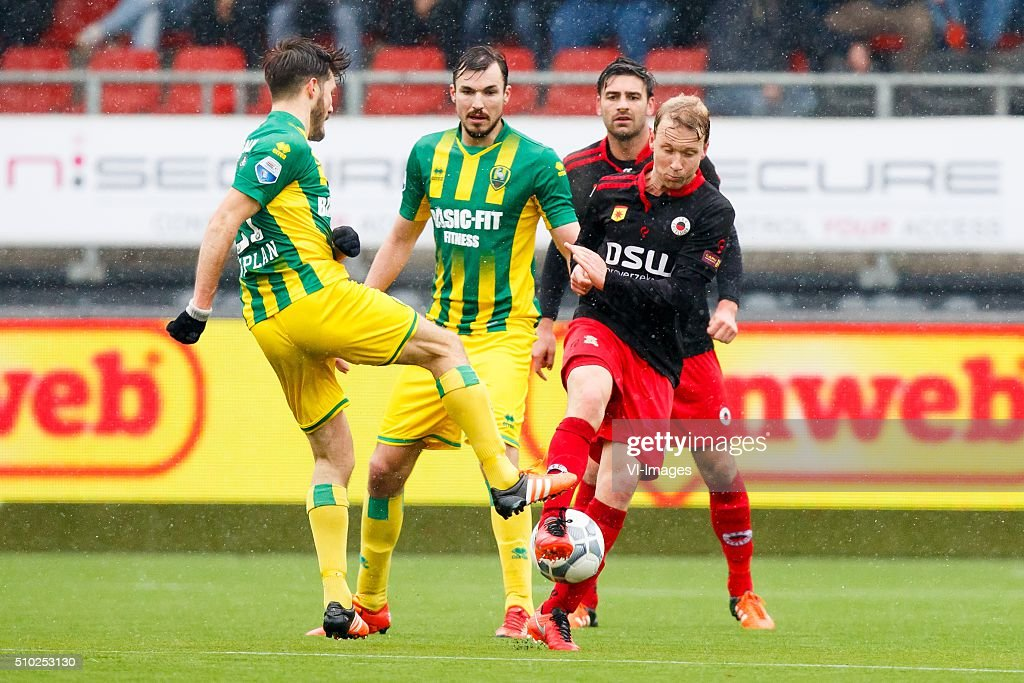 Edouard Duplan of ADO den Haag, Mike Havenaar of ADO Den Haag, Sander Fischer of Excelsior, Rick Kruys of Excelsior during the Dutch Eredivisie match between Excelsior Rotterdam and ADO Den Haag at Woudenstein stadium on February 14, 2016 in Rotterdam, The Netherlands