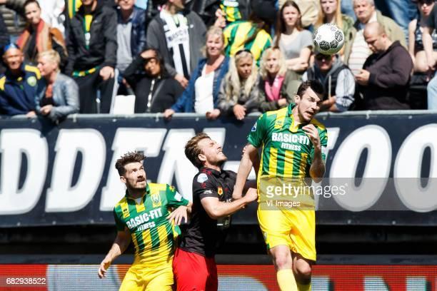 Edouard Duplan of ADO Den Haag Milan Massop of Excelsior Mike Havenaar of ADO Den Haagduring the Dutch Eredivisie match between ADO Den Haag and sbv...