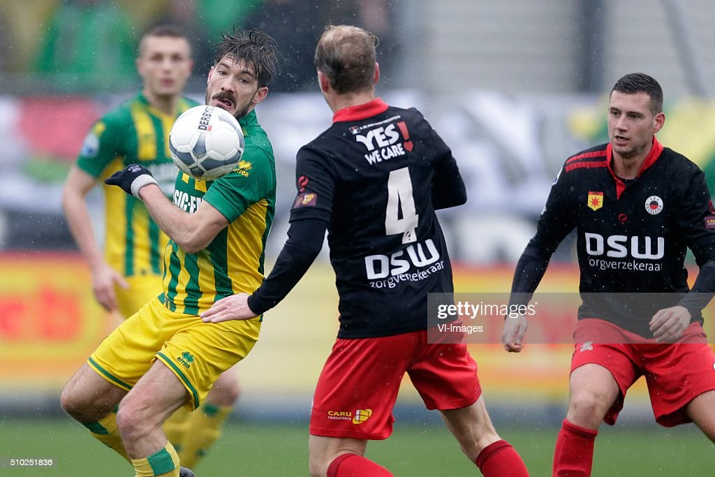 Edouard Duplan of ADO Den Haag, Rick Kruys of Excelsior Rotterdam during the Dutch Eredivisie match between Excelsior Rotterdam and ADO Den Haag at Woudenstein stadium on February 14, 2016 in Rotterdam, The Netherlands