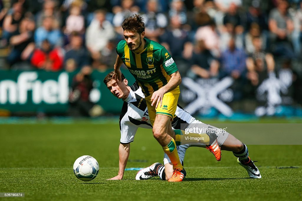 Edouard Duplan of ADO Den Haag, Robin Gosens of Heracles Almelo during the Dutch Eredivisie match between Heracles Almelo and ADO Den Haag at Polman stadium on May 01, 2016 in Almelo, The Netherlands