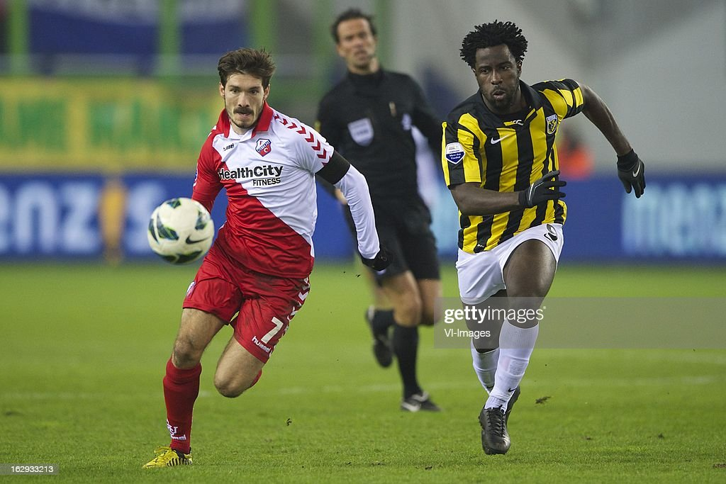 Edouard Duplan of FC Utrecht, referee Bas Nijhuis, Wilfried Bony of Vitesse during the Dutch Eredivisie match between Vitesse Arnhem and FC Utrecht at the Gelredome on march 01, 2013 in Arnhem, The Netherlands