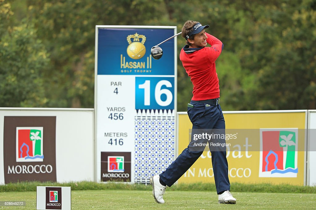 Edouard Espana of France hits his tee shot on the 16th hole during the second round of the Trophee Hassan II at Royal Golf Dar Es Salam on May 6, 2016 in Rabat, Morocco.