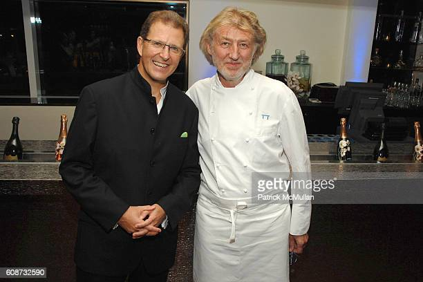 Edouard Ettedgui and Chef Pierre Gagnaire attend MANDARIN ORIENTAL HOTEL GROUP Party for the SOTHEBY'S Contemporary Asian Art Exhibition at The...