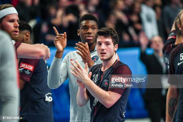 Edouard Kempf and Dylan Nahi of PSG during the Champions League match between Paris Saint Germain and Veszprem on November 12 2017 in Paris France