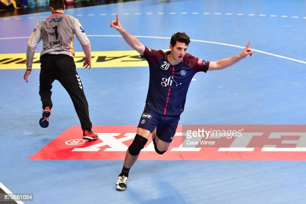 Edouard Kempf of PSG celebrates a goal during the Champions League match between Paris Saint Germain and Kielce on November 5 2017 in Paris France