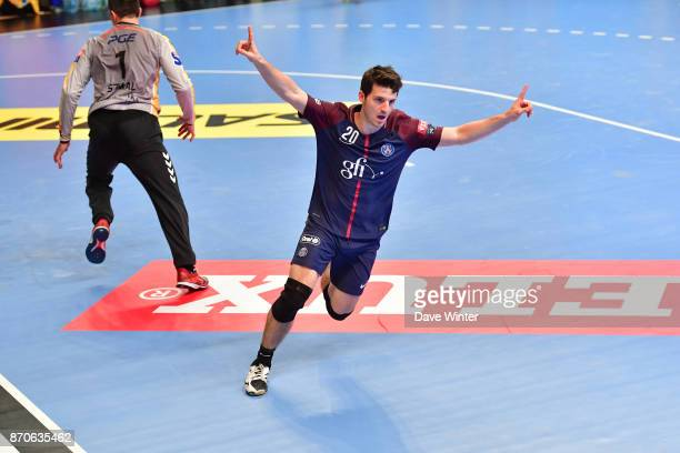 Edouard Kempf of PSG celebrates scoring during the Champions League match between Paris Saint Germain and Kielce on November 5 2017 in Paris France