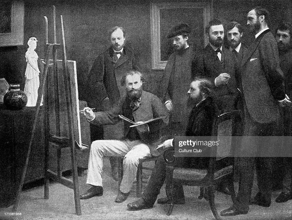 Edouard Manet painting in his studio surrounded by 19th century French artists and writer, including <a gi-track='captionPersonalityLinkClicked' href=/galleries/search?phrase=Auguste+Renoir&family=editorial&specificpeople=117768 ng-click='$event.stopPropagation()'>Auguste Renoir</a>, Emile Zola and <a gi-track='captionPersonalityLinkClicked' href=/galleries/search?phrase=Claude+Monet&family=editorial&specificpeople=79875 ng-click='$event.stopPropagation()'>Claude Monet</a>, by <a gi-track='captionPersonalityLinkClicked' href=/galleries/search?phrase=Henri+Fantin-Latour&family=editorial&specificpeople=98929 ng-click='$event.stopPropagation()'>Henri Fantin-Latour</a> French artist 14 January 1836 - 25 August 1904. EM French artist 23 January 1832 - 30 April 1883. AR French artist 25 February 1841 - 3 December 1919; EZ French writer 2 April 1840 - 29 September 1902; CM French artist 14 November 1840 - 5 December 1926.