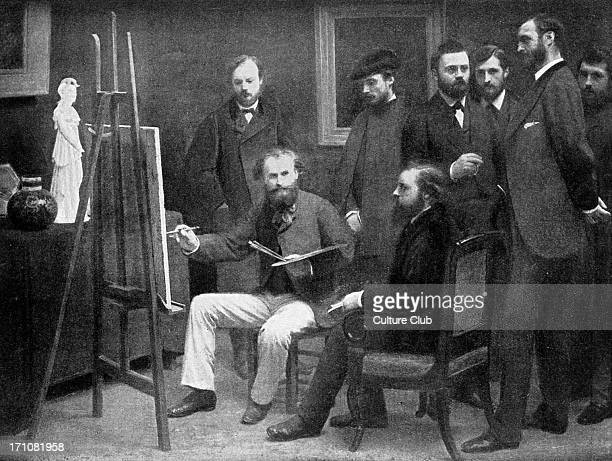 Edouard Manet painting in his studio surrounded by 19th century French artists and writer including Auguste Renoir Emile Zola and Claude Monet by...