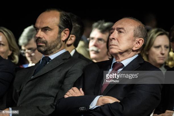 Edouard Philippe and Gérard Collomb at the meeting during the council of the Republic on the Move party at Eurexpo Lyon France on November 18 2017...
