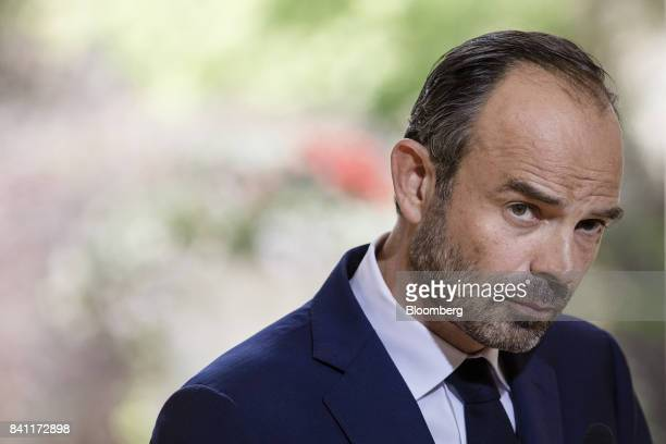 Edouard Philippe France's prime minister pauses during a news conference at his official residence in Paris France on Thursday Aug 31 2017 Philippe...
