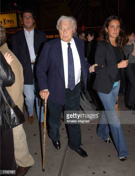 Edouardo Teodorani his uncle Fiat honorary chairman Gianni Agnelli and Agnelli's his niece Cornelia Brandolini walk to see the musical '42nd Street'...