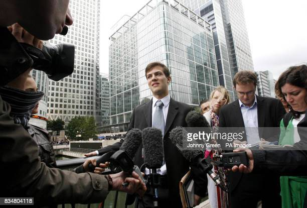 Edourd D'Archimbaud from Paris who started his first day's work at Lehman Brothers today speaks to the press after learning that he no longer has a...