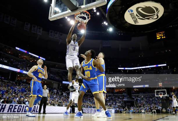 Edrice Adebayo of the Kentucky Wildcats dunks in the second half against Isaac Hamilton of the UCLA Bruins during the 2017 NCAA Men's Basketball...