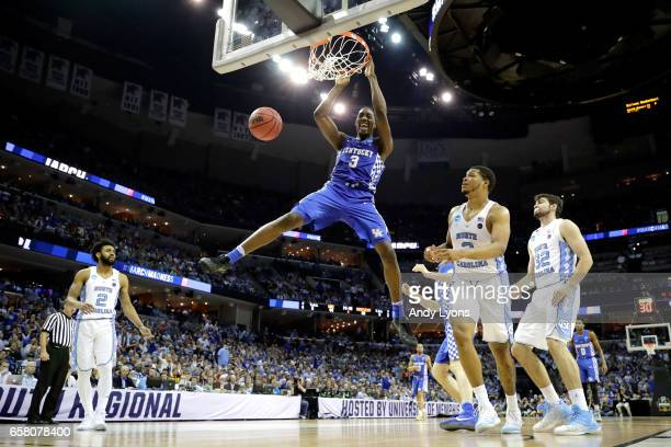 Edrice Adebayo of the Kentucky Wildcats dunks in the second half against the North Carolina Tar Heels during the 2017 NCAA Men's Basketball...