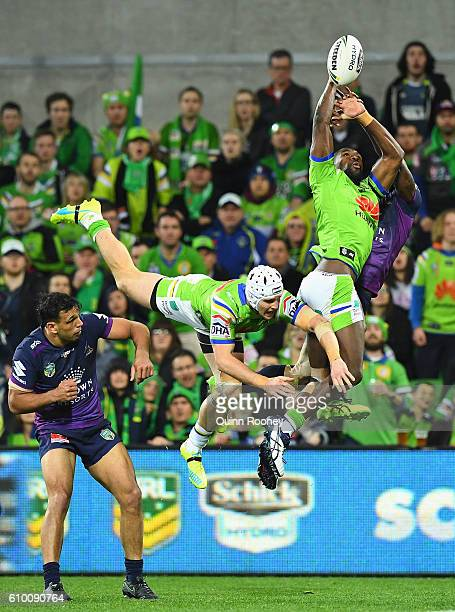 Edrick Lee of the Raiders attempts to catch the ball during the NRL Preliminary Final match between the Melbourne Storm and the Canberra Raiders at...